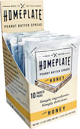 HomePlate Peanut Butter On-the-Go Squeeze Packs, Honey Flavored Creamy, All Natural, No Stir, Non-GMO, 1.15 oz. squeeze packs, Pack of 10 (Best Way To Bet On Baseball)