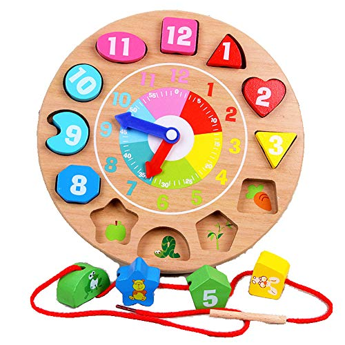 Bei&Nan Wooden Shape Sorting Clock - Toddlers Gifts - Educational Number Toys for 1 2 3 Years Old Boys and Girls ()