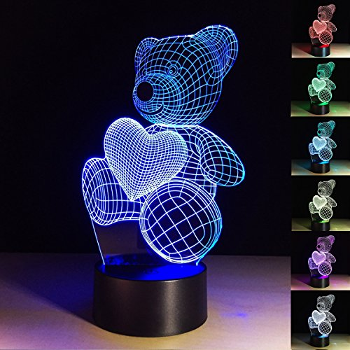 ChiMoon 3d Illusion LED Lamps, Cute Bear 3D Night Light for Kids 7 Color LED Desk Table Light Children Lamp with Flat Acrylic Panel and ABS Base (Love Bear)