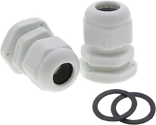 Black 2 x IP68 Weatherproof 20mm Stuffing Cable Gland /& Locknut M20