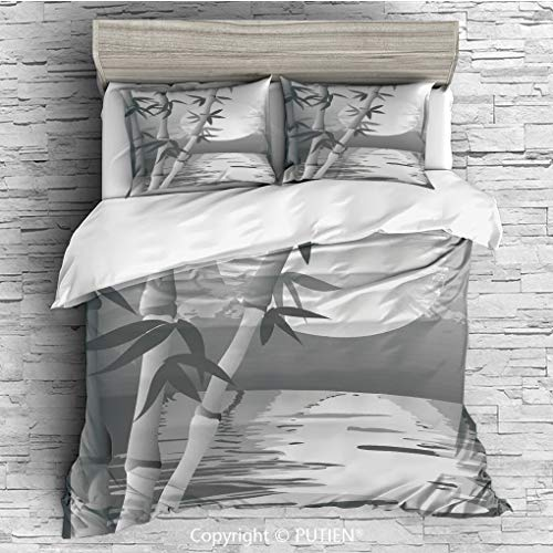 QUEEN Size Cute 3 Piece Duvet Cover Sets Bedding Set Collection [ Bamboo,Stem of the Bamboo Plant by the River in Full Moon at Night Twilight Horizon Artful Print,Grey ] Comforter Cover Set for Kids G