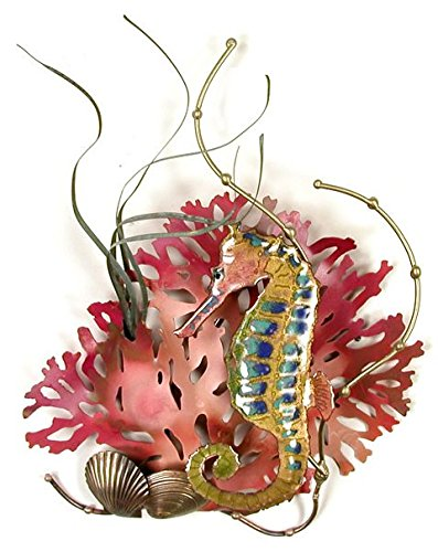 Rainbow Seahorse Enamel Glass Copper Metal Wall Art, Large Metal Wall Art in Modern Tropical Design, 3D Wall Art for Modern and Contemporary Décor, 7