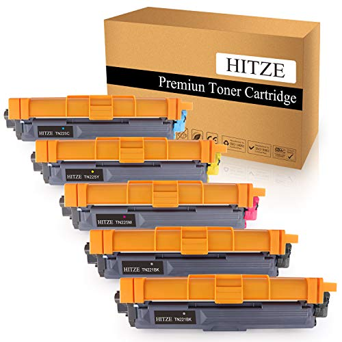 HITZE Compatible Toner Cartridge Replacement for Brother TN221 TN-221 TN225 TN-225 for Brother MFC-9130CW HL-3170CDW MFC-9340CDW HL-3140CW (2 Black, 1 Cyan, 1 Magenta, 1 Yellow, High Yield, 5 Pack)