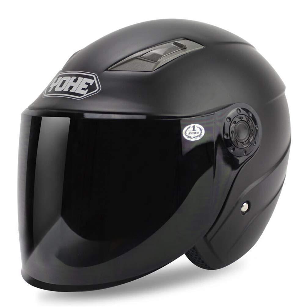 GWM 電動バイクヘルメット、四季ユニバーサル男性と女性の冬オープンフェイスヘルメット、防寒サンスクリーンレトロハーフヘルメット (色 : 黒, サイズ さいず : M) 黒 Medium
