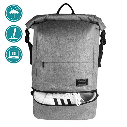ITSHINY Casual Outdoor Backpack, Multipurpose Roll-Top Fashion Rucksack Water Resistant Fits 15.6 Inch Laptops (Gray)
