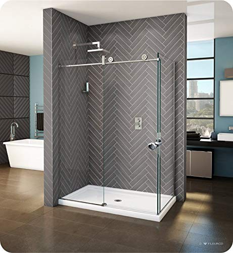 Fleurco KNPR5742-11-40L-CY KN Kinetik In-Line 60 Sliding Shower Door Left with Fixed and Return Panel in Polished Stainless/Clear Glass Handles:Straight Round Towel Bar