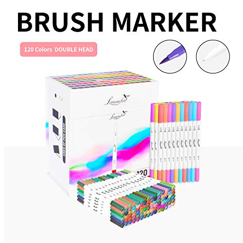 120 Colors Dual Tip Brush Marker Pens, 0.4 Fine Tip Marker Pens and Watercolor Brush Highlighter Pen Set for Sketch Book Coloring Book Note Taking Writing Planning Art Project