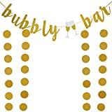 Gold Glitter Bubbly Bar Banner and Gold Paper Cicle Dots Banner,For Bachelorette,Bridal Shower,Engagement,Wedding Party Supplies