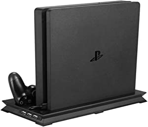 PS4 Cooler Pad | PS4 Slim Vertical Stand with Silent Noise Air Cooling Fan and 3 USB HUB Ports | Dual Controller Charging Stations DualShock Controllers with Safe Premium ABS Black PS4 Stand | 761.3