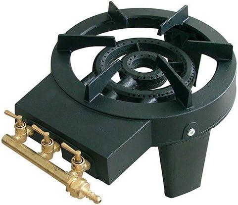 Ribiland – prf390 – Hornillo de gas, 2 quemadores, 3 patas, hierro fundido, 8,6 kW