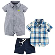 Simple Joys by Carter's Boys' Infant 3-Piece Playwear Set, Chambray/Blue Plaid, 3-6 Months