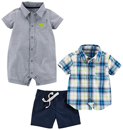 Plaid Boys Shorts (Simple Joys by Carter's Boys' Infant 3-Piece Playwear Set, Chambray/Blue Plaid, 18 Months)
