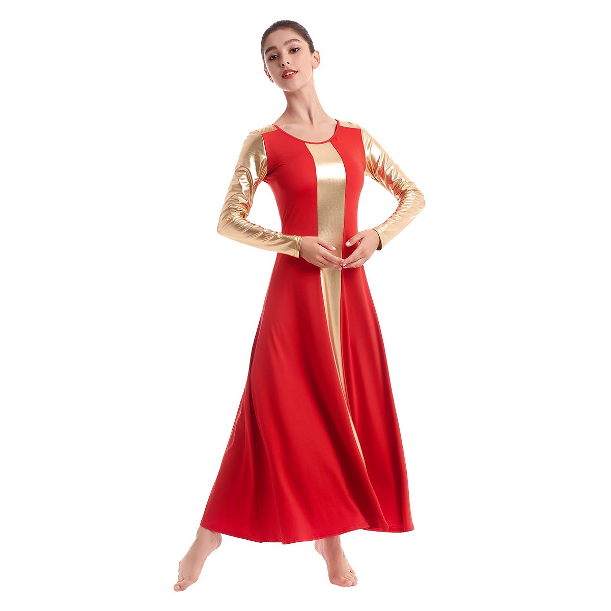 IBAKOM Womens Liturgical Praise Lyrical Church Dance Dress Tunic Circle Skirt Christian Worship Metallic Bi Color Block Dancewear Ballet Costume Red-Gold L by IBAKOM