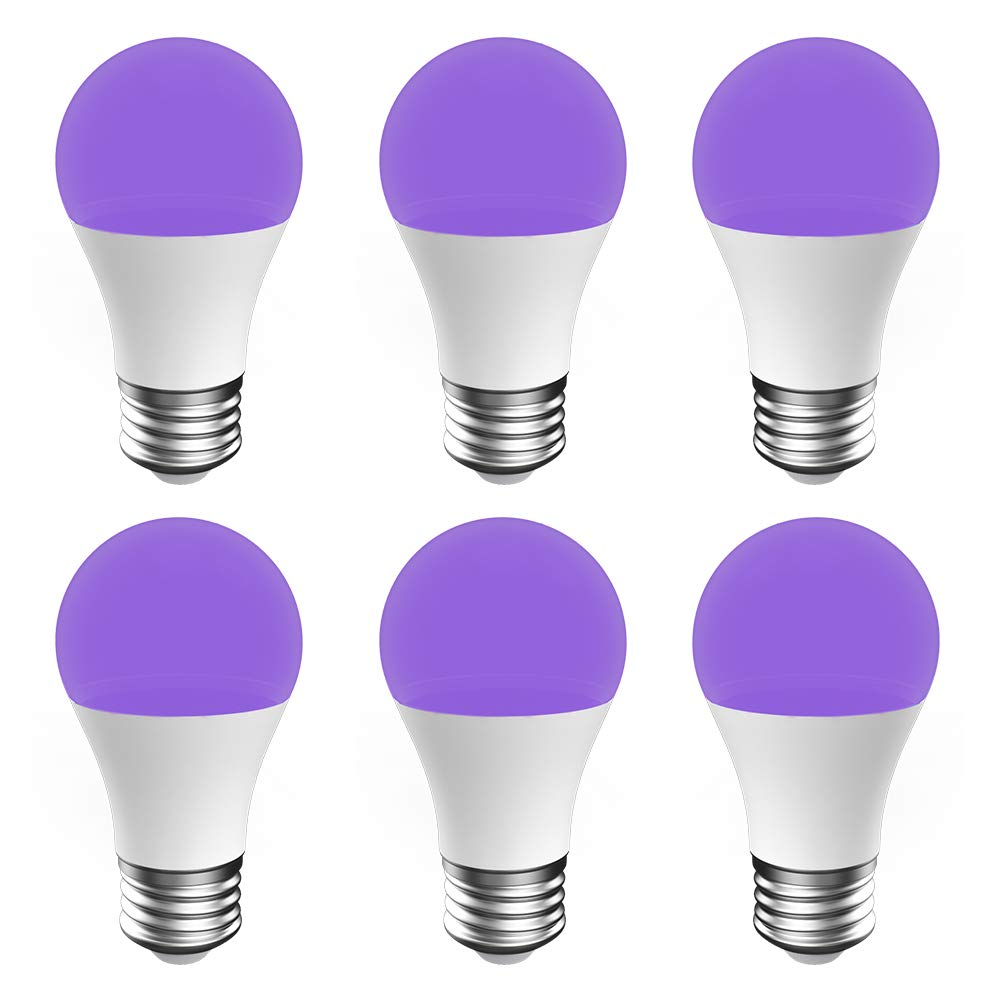Onforu UV LED Black Lights Bulb, 7W A19 E26 Bulb, UVA Level 385-400nm, Glow in The Dark for Blacklights Party, Body Paint, Fluorescent Poster, Neon Glow (6 Pack)