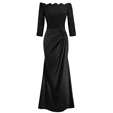 684a40d74b Women's 1920's Retro Elegant Floral Lace Pleated Vintage Bridesmaid 3/4 Sleeve  Off Shoulder Maxi Evening Wedding Birthday Party Cocktail Formal Gowns Long  ...