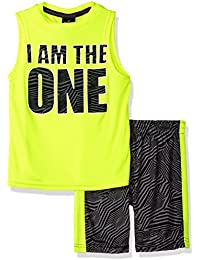 Boys' Athletic Muscle Graphic Tee and Printed Short 2 Piece Set