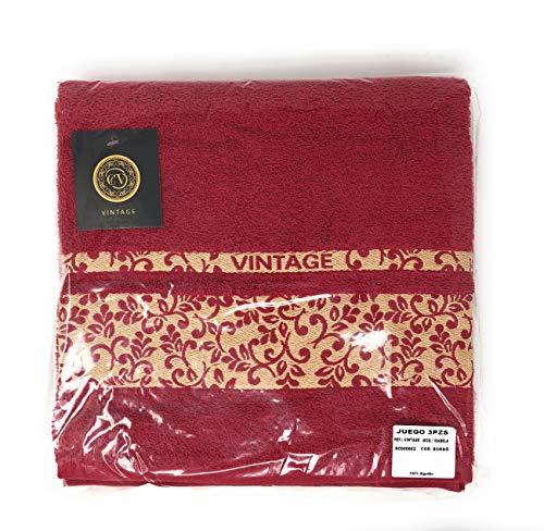 Cabello Textil Hogar - Juego de Toallas 100% Algodón de 450 Gr/m2 - Vintage - 3 Piezas: Sábana de baño (100x150 cm) - Tocador (50x100 cm) - Bidet (30x50 cm) ...