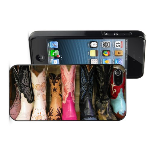 Apple iPhone 5 5S Black 5B450 Hard Back Case Cover Color Row of Cowgirl Cowboy Boots
