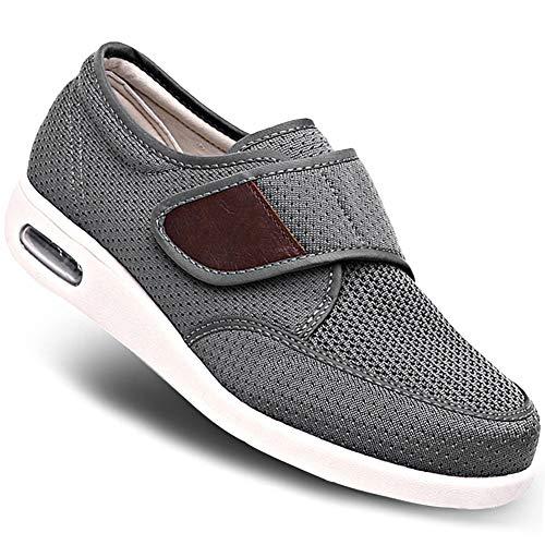 MEJORMEN Men's Breathable Mesh Walking Shoes Elderly Adjustable Outdoor Sneakers Lightweight Summer Slippers for Swollen Feet Diabetic Recovery