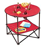 Waterproof Portable Folding Picnic 28 Inch Round Table with Handle, Red, Polyester