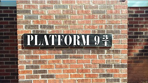 Platform 9 3/4 train sign with Vinyl Letters indoor or