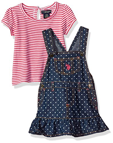 U.S. Polo Assn. Baby Girls' Puff Sleeve Striped Jersey T-Shirt and Denim Skirtall, Fuchsia, 6/9 Months