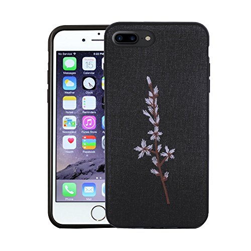 iPhone 7 Plus Case, ALBK Light Weight Shockproof Case Scratch-Resistant Cover for Apple iPhone 7 Plus/iPhone 8 Plus Design Embroidered Tree Branch - Black?5.5Inches?