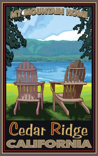 Northwest Art Mall My Mountain Home Cedar Ridge California Adirondack Chairs Lake Artwork by Joanne Kollman, 11-Inch by - Park Mall Cedar
