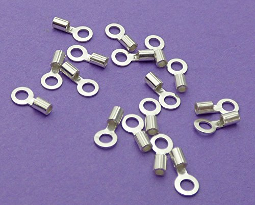 New 1.5mm x 1.5mm Loop with 0.9mm Internal Diameter 925 Sterling Silver Beading Chain End Cap Crimps 6pcs