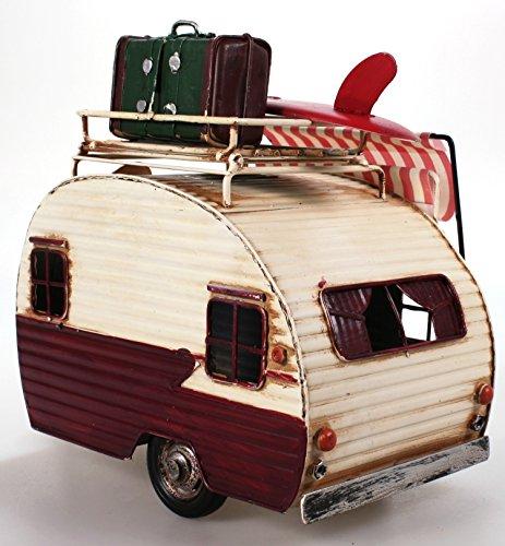 51IKPNVNBdL Wohnwagen aus Metall rot mit Rahmen und Spardose Camper Auto Oldtimer Nostalgie