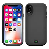 iPhone X Battery Case, 5000mAh Rechargeable Charger Case Portable Charging Case for iPhone X /10 (5.8 inch) Extended Case Battery/Provide Tempered Glass Screen Protectors