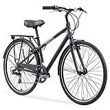 sixthreezero Reach Your Destination - Bicicleta híbrida para Hombre con Estante Trasero, 28 Pulgadas, 7 velocidades, Color Negro Mate