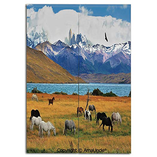 SCOXIXI Decoration Doorway Curtain for Room Separation,Animal Farm with Horses in The Vast Combe with Mountains Desert Art Photo(33.5x59 Inches), Stop Wind and Dust,Used for Kitchen Apartment