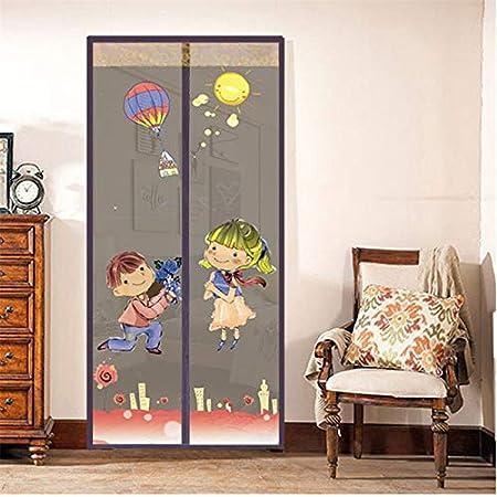 Tipo de imán de verano mosquitera puerta neta bordado anti-mosquitos puerta cortina pareja patrón cierre automático ventana ventana puerta red A2 W90xH210