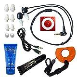 Underwater Audio 100% Waterproofing compatible with iPod Shuffle, Swimbuds Flip, AquaGuard, iFloatie, and Fitgoo (Red)