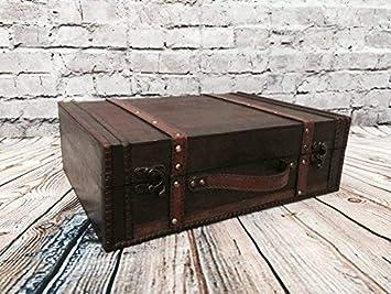 Maleta de madera antigua mirada de almacenamiento de tarjetas de troncales titular de bodas Post Box 2 Tamaños