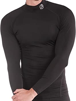 Mens Body Compression Mock Neck Baselayers Under Shirt Top Long Sleeve Stretchy