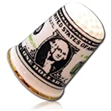 "Custom & Collectible {25mm Hgt. x 19mm Dia.} 1 Single, Mid-Size Sewing Thimble Made of Fine-Grade Porcelain Glass w/ ""United States Of America One Dollar"" Bill Money Cash Currency Design {Multicolor}"