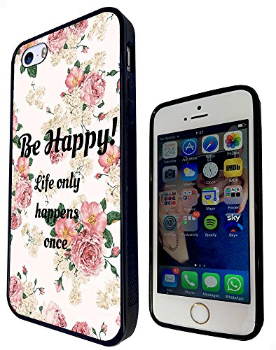 1175 - Floral Shabby Chic Roses Fleurs Be Happy Life Only Happens Once Design iphone SE - 2016 Fashion Trend Protecteur Coque Gel Rubber Silicone protection Case Coque - Noir