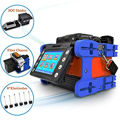 "Fusion Splicer,SPEEDWOLF Core Alignment Portable 3.6"" LCD Small Optic Fiber Splicer Auto splicing Welding Machine for SM MM DSF NZDSF ED Fibers with Optic Fiber Cleaver 4-in-1 and SOC Holder(FS20E-CT)"