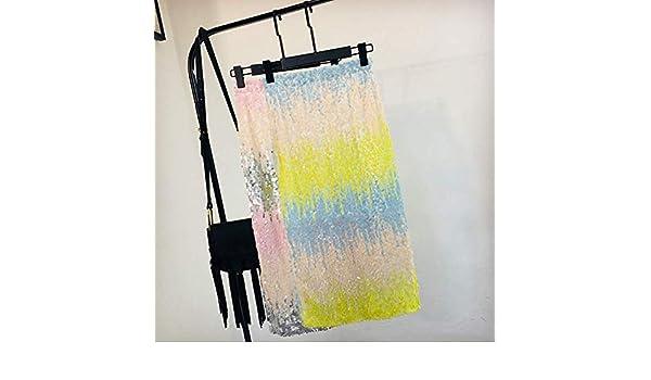 MEILIDE Falda para Mujer Color gradiente Cintura Alta era Falda de Lentejuelas de Color Delgado Bolso de Cintura elástica Femenina Falda de Cadera sección Larga Falda Dividida código Amarillo: Amazon.es: Deportes y