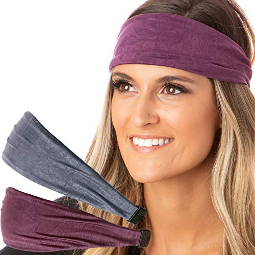 Hipsy Adjustable & Stretchy Crushed Xflex Wide Headbands for Women Girls & Teens (D Grey & Plum Crushed 2pk) ()