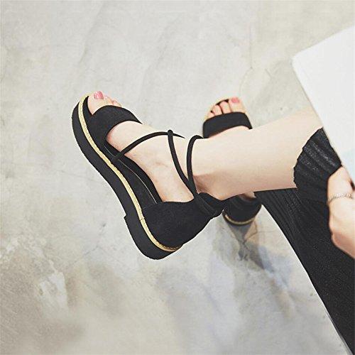 Sandalias de verano hembra pastel zapatos inferior grueso Negro