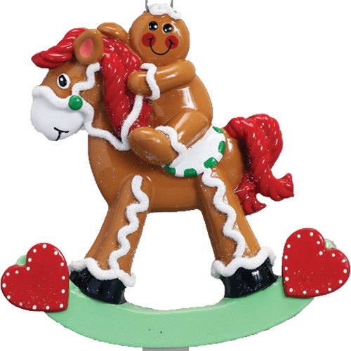 - Personalized Gingerbread Rocking Horse Christmas Tree Ornament 2019 - Cute Sweet Baby Frosted Cookie Red Heart Boy Girl First New Mom Decor Shower Grandkid Gender Neutral - Free Customization