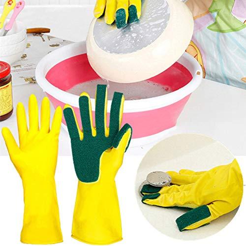 Guantes de limpieza de lavado para dedos de mano derecha, almohadillas para orejas de estropajo de látex natural, guantes de...