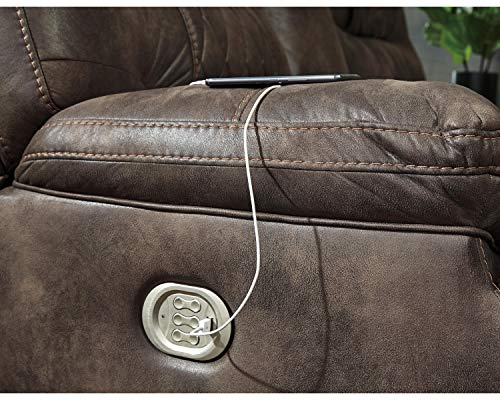 Farmhouse Living Room Furniture Signature Design by Ashley – Welsford Faux Leather Power Reclining Loveseat w/ Console – Dark Brown farmhouse sofas and couches