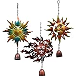 Sun Celestial Hanging Wind Chimes Set Of 3 With Bells Garden Yard Porch Metal Decorations
