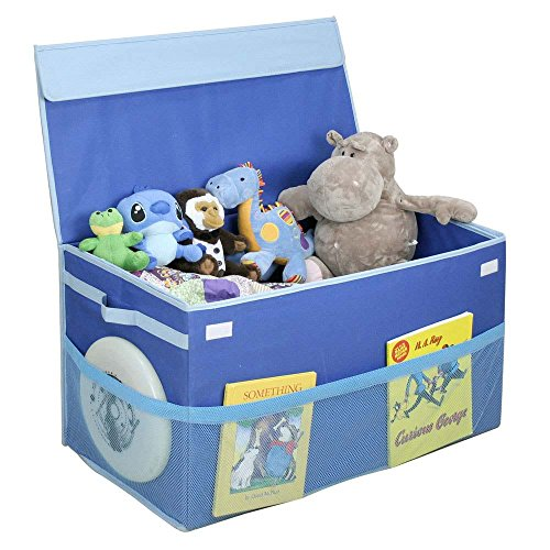 G.U.S. Kids Collapsible Toy Chest with Flip-Top Lid and Mesh Pockets, Large, Blue (Baseball Toy Chest)