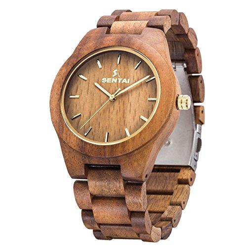 Mens Wooden Watch  Sentai Handmade Vintage Quartz Watches  Natural Wooden Wrist Watch