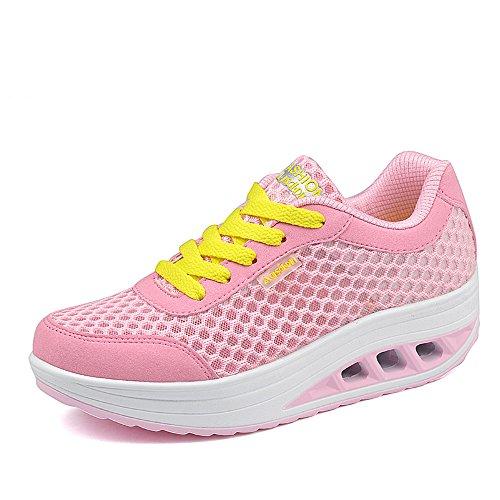 Agsdon Women's Comfortable Fashion Shake Shoes(Pink/Yellow)